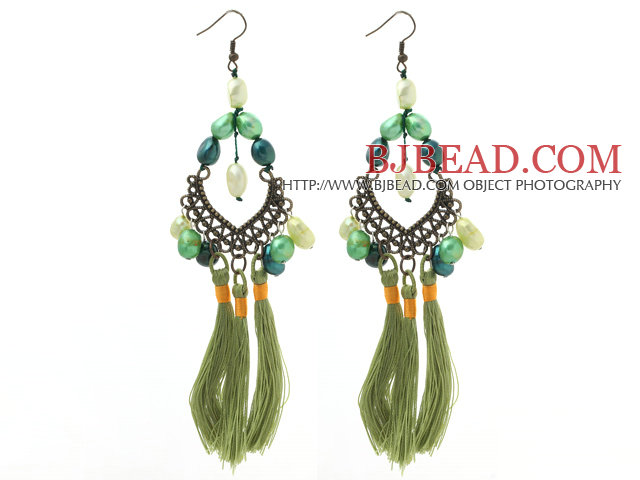 New Design Green Style Assorted Green Baroque Pearl Tassel Dangle Earrings