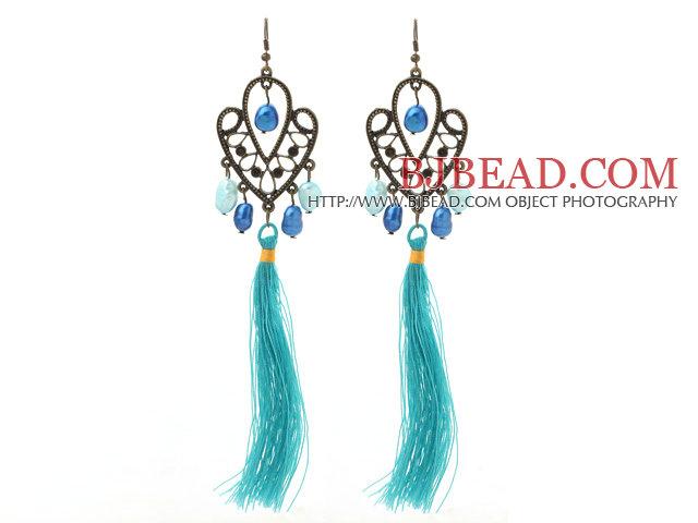 New Design Blue Series 8-9mm Baroque Pearl Tassel Dangle Earrings