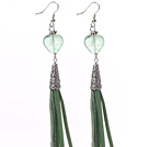 Long Style Heart Shape Rainbow Fluorite Dangle Leather Tassel Earrings with Green Leather Tassel