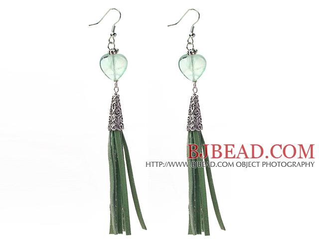 Long Style Heart Shape Rainbow Fluorite Dangle Leather Tassel Earrings with Green Leather Tassel
