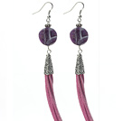 Long Style Round Shape Whirling Amethyst Dangle Leather Tassel Earrings with Purple Leather Tassel