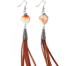 Long Style Round Shape Whirling Agate Dangle Leather Tassel Earrings with Reddish Brown Leather Tassel