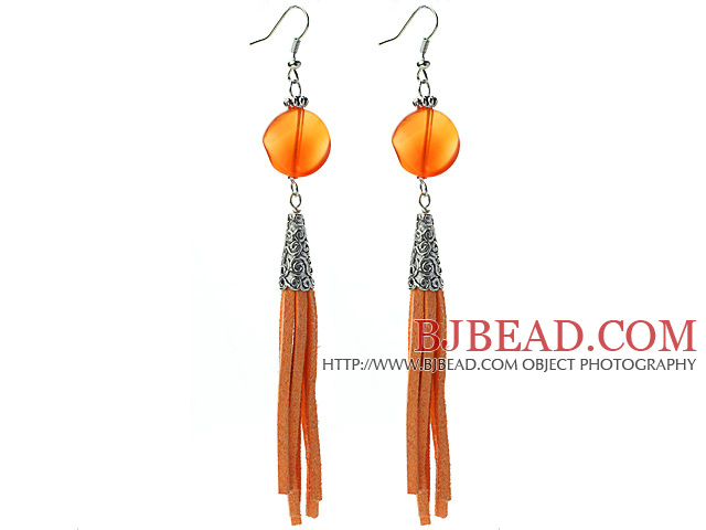 Long Style Round Shape Whirling Orange Agate Dangle Leather Tassel Earrings with Orange Leather Tassel