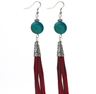 Long Style Flat Round Shape Phoenix Dangle Leather Tassel Earrings with Red Leather Tassel