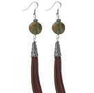 Long Style Flat Round Shape Unakite Dangle Leather Tassel Earrings with Brown Leather Tassel