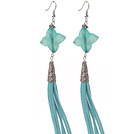 Long Style Rhombus Shape Blue Jade Dangle Leather Tassel Earrings with Blue Leather Tassel