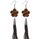 Long Style Flower Shape Tiger Eye Dangle Leather Tassel Earrings with Brown Leather Tassel