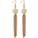 Long Style 3-4mm White Freshwater Pearl Tassel Earrings with Metal Chain Tassel