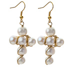 Fashion Style Cross Shape 7-9mm White Freshwater Pearl Earrings