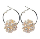 Fashion Style 3-4mm White Freshwater Pearl Big Loop Earrings