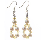 Fashion Style White Freshwater Pearl and Yellow Crystal Dangle Earrings