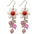 Hvid Ferskvandsperle Crystal og Red Coral og Pink Jade Dangle Øreringe