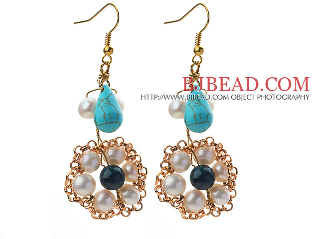 Fashion Style White Freshwater Pearl and Teardrop Shape Turquoise and Phoenix Earrings