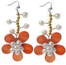 White Freshwater Pearl and Golden Color Metal Beads and Orange Shell Flower Crocheted Earrings under $ 40