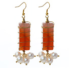 Wire Wrapped Rectangle Shape Carnelian and White Freshwater Pearl Earrings under $ 40