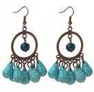 Vintage Style Teardrop Shape Turquoise and Phoenix Stone Earrings