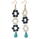 New Design Black and White Freshwater Pearl and Teardrop Shape Turquoise Link Earrings