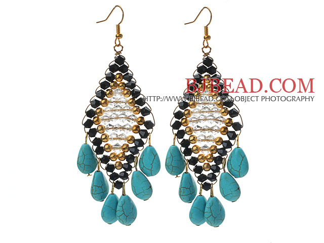Black and Golden Color Crystal and Teardrop Shape Turquoise Earrings