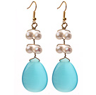 White Freshwater Pearl and Teardrop Shape Blue Cats Eye Dangle Earrings