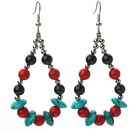 Assorted Turquoise and Red Coral and Black Agate Teardrop Shape Earrings