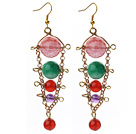 Assorted Carnelian and Amethyst and Cherry Quartz and Malaysia Jade Dangle Multi Color Earrings