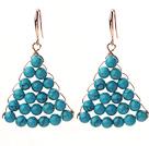 Fashion Style Fan Shape 6mm Blue Turquoise Earrings