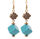 Cube Shape Turquoise and Chinese Knot Shape Metal Accessories Earrings