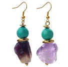 New Design Turquoise and Irregular Shape Amethyst Earrings