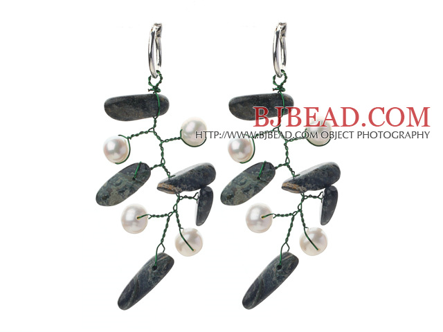 White Freshwater Pearl and Phoenix Branch Shape Earrings