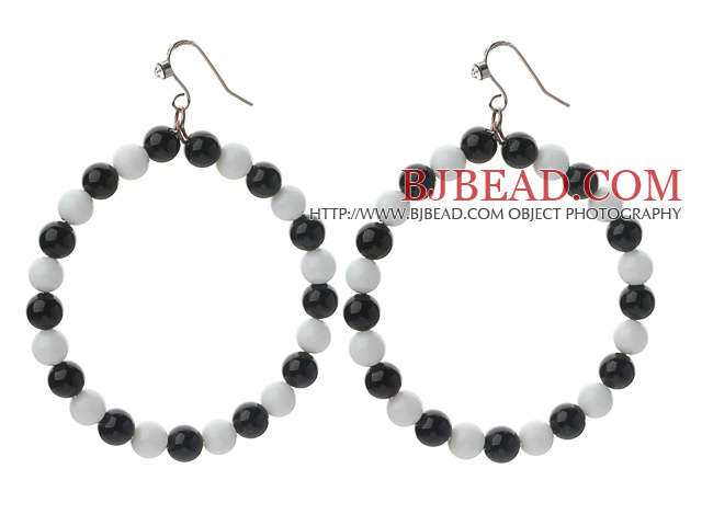 Round Black Crystal and White Porcelain Stone Big Loop Earrings