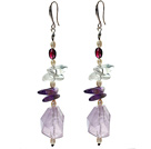 White Freshwater Pearl and Clear Crystal and Irregular Shape Amethyst Dangle Earrings
