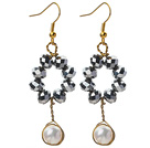 New Design White Freshwater Pearl and Tungsten Steel Color Crystal Dangle Earrings under $ 40