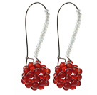 Fashion Style Ball Shape Carnelian and Milk Color Crystal Earrings