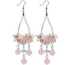 Różowy Series pogodnie Kryształy i Różowy Kryształ i Rose Quartz Kolczyki