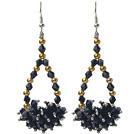 Assortiti di cristallo nero e dorato Perle in metallo di colore degli orecchini di goccia di figura