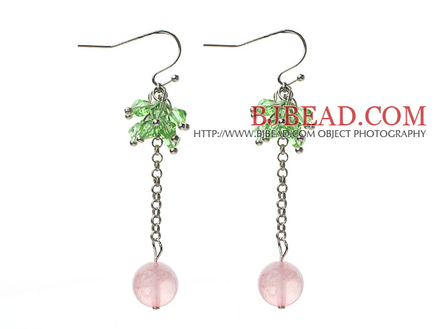 Dangle Style Round Rose Quartz and Green Crystal Long Earrings