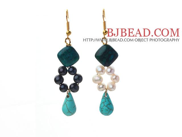 fashion white black freshwater pearl rhombus phoenix stone and teardrop turquoise dangle earrings