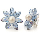 Fashion Natural White Freshwater Pearl And Faceted Manmade Blue Crystal Flower Clip-On Ear Studs