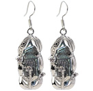 Classic Natural Black Biwa Pearl Rhinestone Charm Dangle Øreringe med Fish Hook