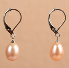 Popular Elegant Natural Drop Shape Flesh Pink Freshwater Pearl Earrings With Lever Back Hook
