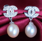 Fashion Elegant Natural Pink Freshwater Pearl Earring Studs With Rhinestone Accessory