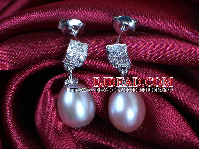 Classic Trendy Style Drop Shape Natural Purple Freshwater Pearl Earring Studs With Rhinestone Accessory