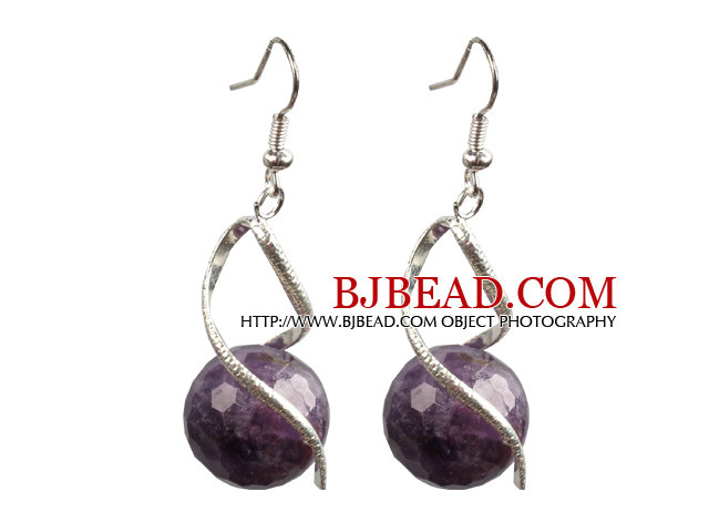Fashion Lovely Design Faceted Amethyst Bead Dangle Earrings
