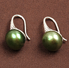 Simple Style Natural Army Green Freshwater Pearl Earrings