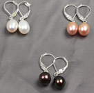 3 Pairs Classic Design White Pink And Black Pearl Earrings With Lever Back Hook