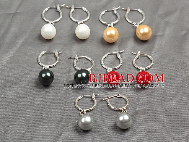 5 Pairs Classic Design Multi Color Water Drop Shape Seashell Bead Earrings