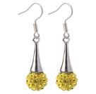 Fashion Simple Style 10mm Yellow Polymer Clay Rhinestone Horn Charm Earrings With Fish Hook under $ 40