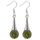 Fashion Simple Style 10mm Olive Green Polymer Clay Rhinestone Horn Charm Earrings With Fish Hook