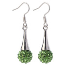 Nice Simple Style 10mm Green Polymer Clay Rhinestone Horn Charm Earrings With Fish Hook