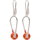 Nice Simple Style 10mm Round Orange Air-Slake Agate Dangle Earrings With Fish Hook